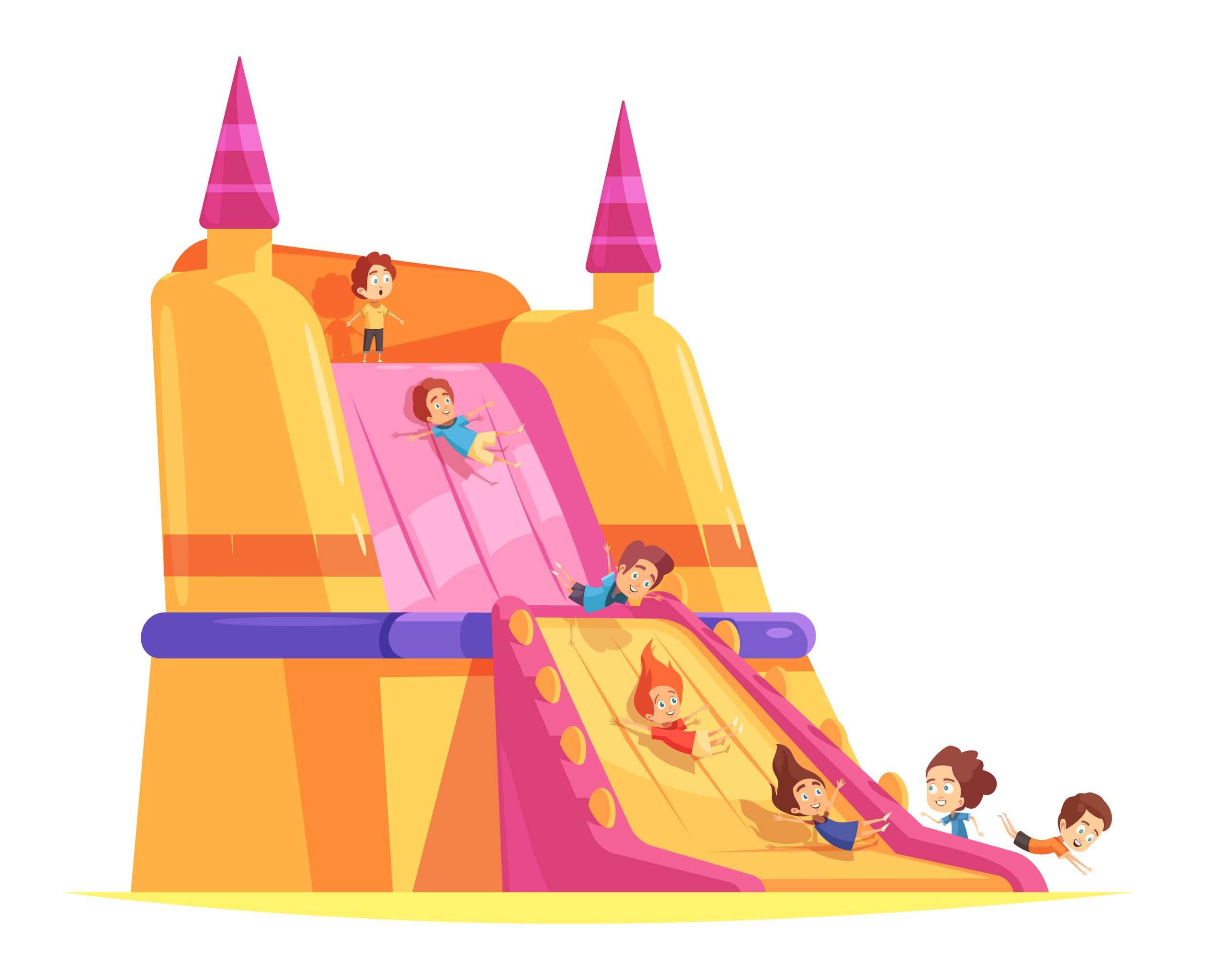Jumping trampolines composition with images of huge flow spreading hump and cartoon human characters of kids vector illustration